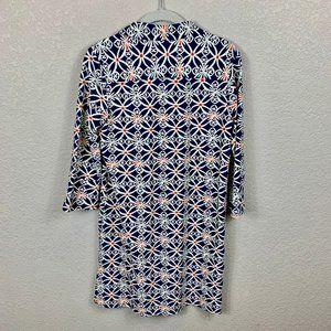 Jude Connally Dresses - Jude Connally Blue, Ivory, Orange Henley Dress M